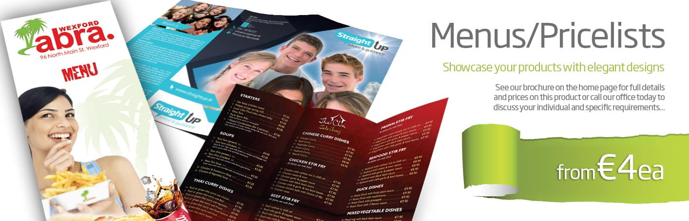 Menu Design & Printing Wexford